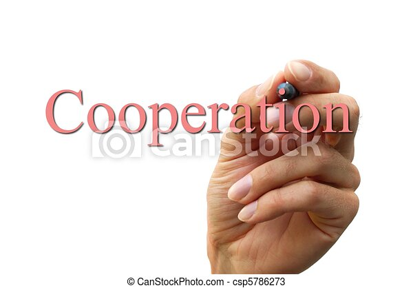 hand writing the word cooperation - csp5786273