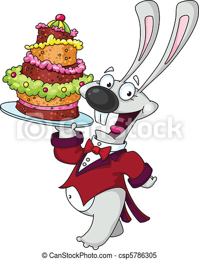 funny rabbit with cake - csp5786305