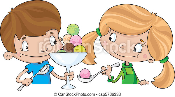 girl and boy with ice cream - csp5786333