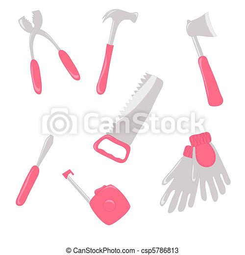 Set of pink work tools - csp5786813