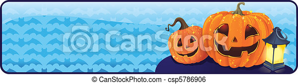 Halloween banner with pumpkins - csp5786906