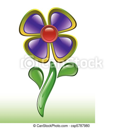 abstract glossy violet flower - csp5787980
