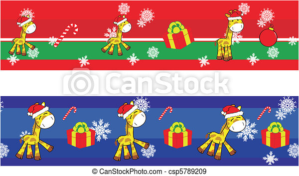 giraffe cartoon xmas banner1 - csp5789209