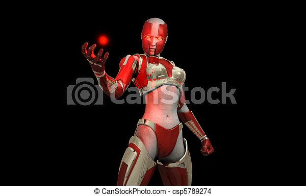 Futuristic cyborg soldier - csp5789274