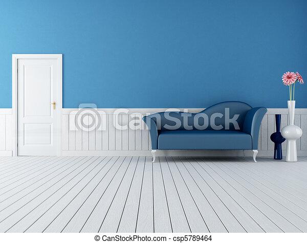 blue and white retro interior - csp5789464