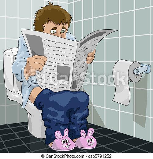 illustration vecteur de les homme toilette les homme lit journal toilette csp5791252. Black Bedroom Furniture Sets. Home Design Ideas