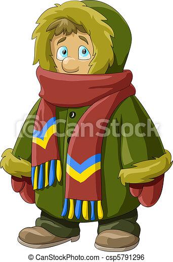 Clip art vecteur de manteau fourrure a gar on dans a - Dessin de manteau ...