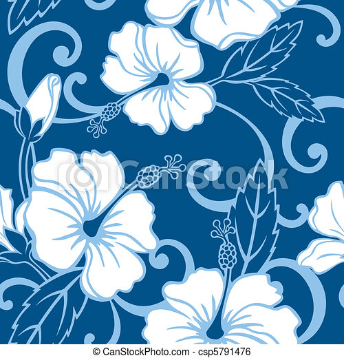 Seamless Blue Hawaii Pattern - csp5791476
