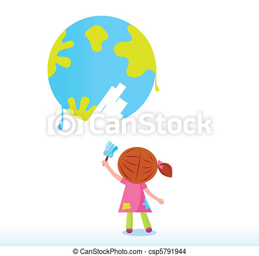 Little artist child painting Earth - csp5791944