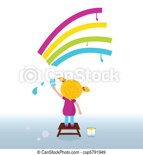 Artist child painting rainbow - csp5791949