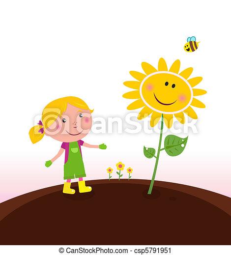 Spring gardening : Gardener child - csp5791951