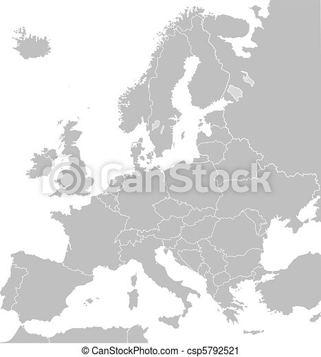 Clipart of Europe map - Illustrated map of Europe in grey or grey ...