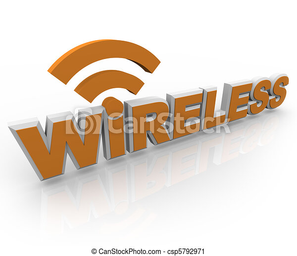 Wireless Word and Symbol - Mobile Connection - csp5792971