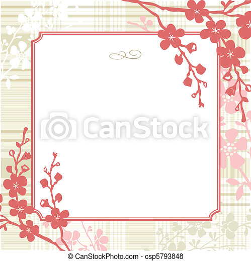 Vector Square Floral Frame and Vintage Background - csp5793848