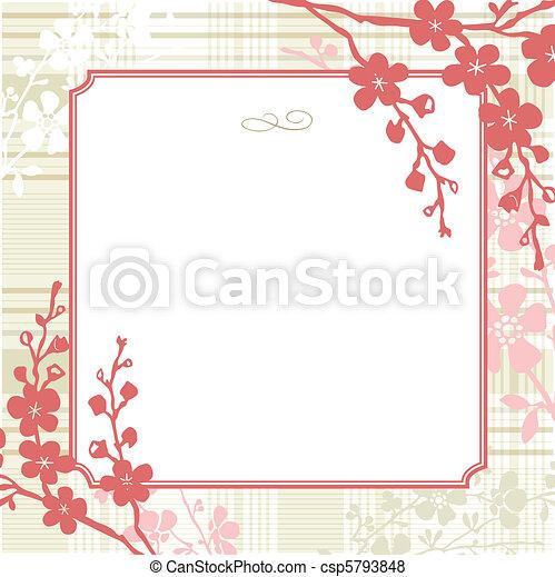 Vector Square Floral Frame and Vintage Background - csp5793848
