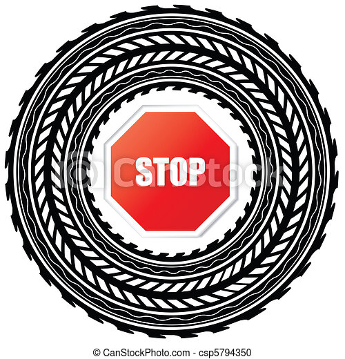 Tire track with stop sign  - csp5794350