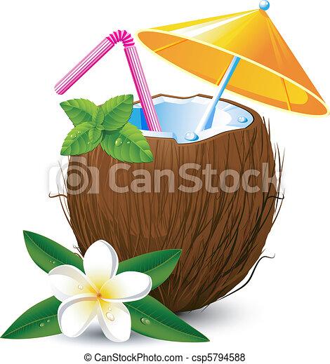 Vector de ex tico coco c ctel encima blanco eps 8 - Dessin noix de coco ...