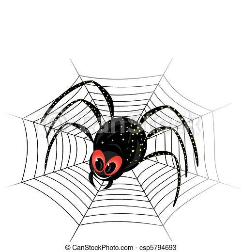 Cute spider on web - csp5794693