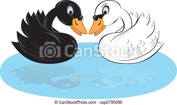 Two cartoon swans - csp5795090
