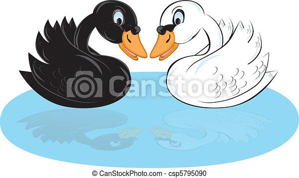 Two cartoon swans - csp5795090