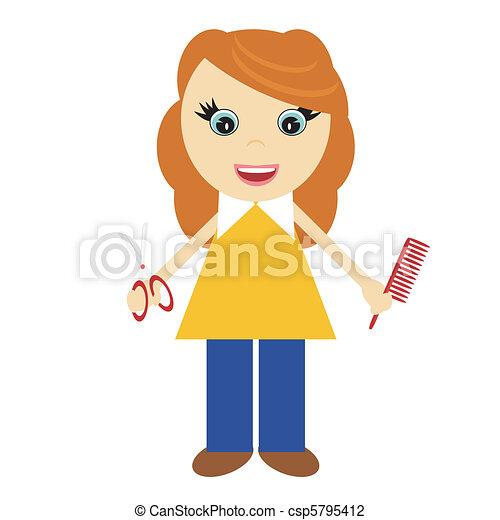 nice girl hairdresser - csp5795412
