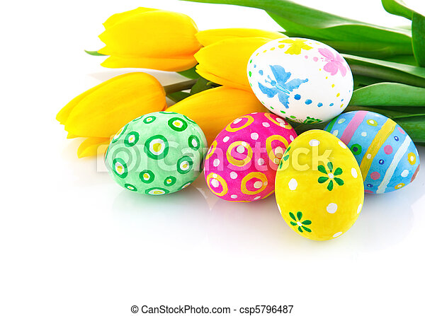easter eggs with yellow tulip flowers - csp5796487