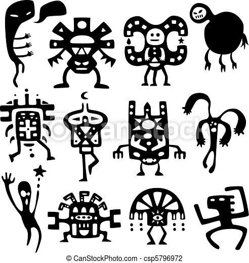 funny shamans and spirits - csp5796972