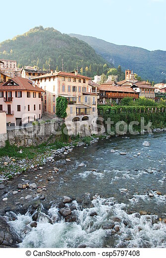 Houses on the river - csp5797408