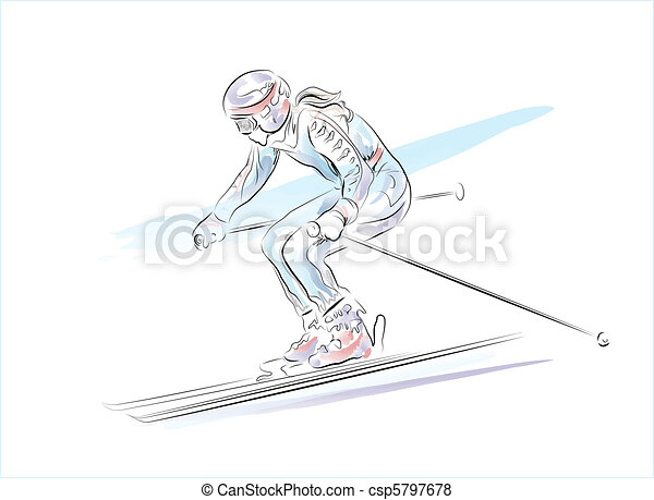 hand drawn  sketch of the skier   - csp5797678
