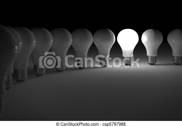 Lit light bulb - csp5797988