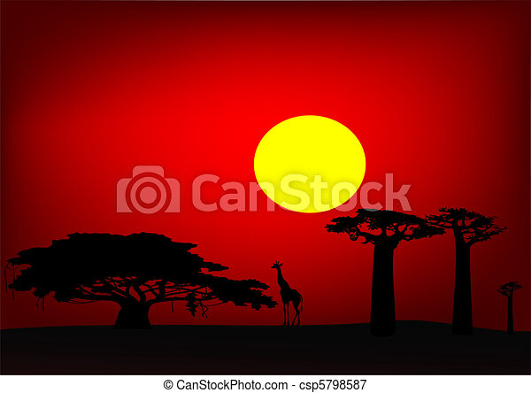 Africa sunset - vector - csp5798587