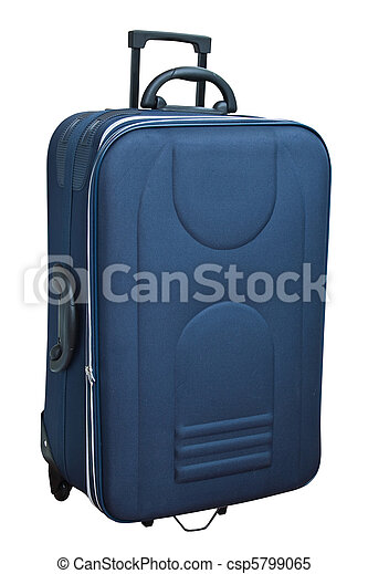 The blue suitcase isolated on white - csp5799065