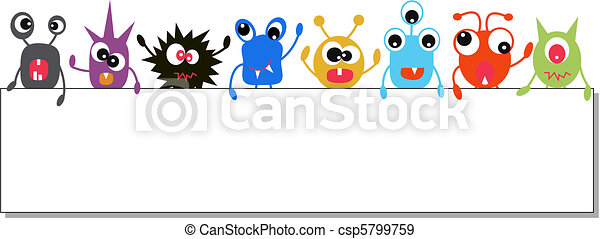 monsters holding a banner - csp5799759