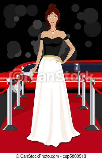 Glamorous Lady on Red Carpet - csp5800513