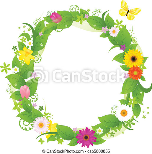 Clipart vectorial de guirnalda, De, flores, y, hojas, aislado, en ...