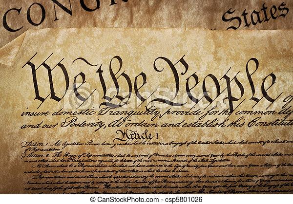 Close-up of the U.S. Constitution - csp5801026