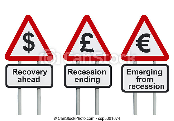 Stock Illustration - Recession ending recovery ahead - stock