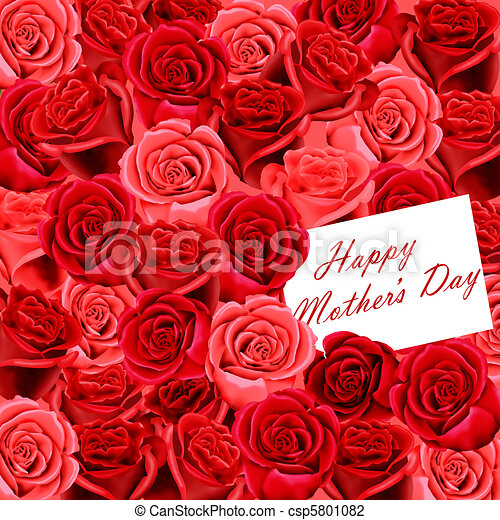 Mother's Day card on roses - csp5801082