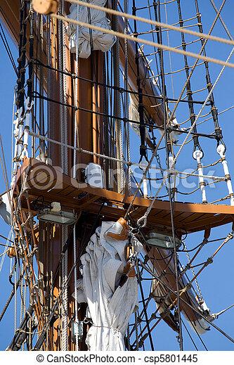 Tall sail ship rigging - csp5801445