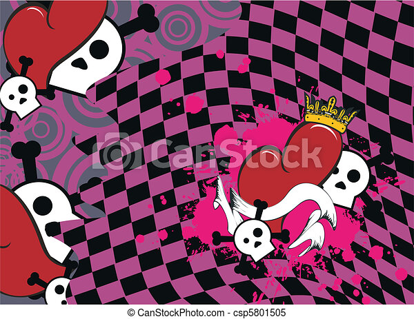 skull heart background2 - csp5801505