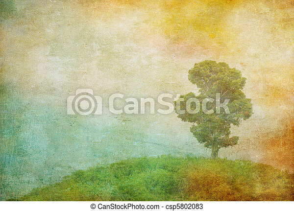 grunge, 葡萄酒, 圖像, 樹, 背景, 在上方 - csp5802083