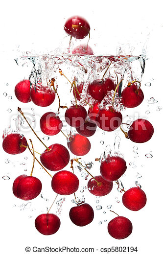 Red cherries falling in water - csp5802194