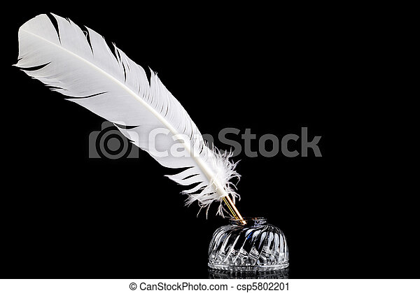 Quill pen and inkwell on black background - csp5802201