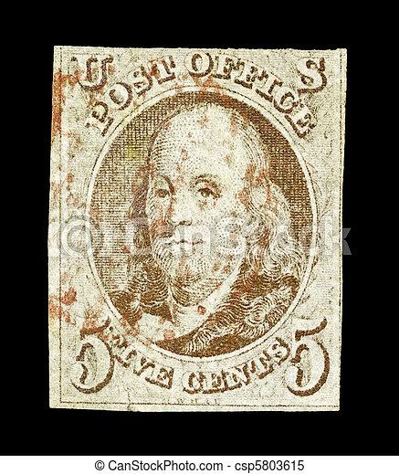 First USA stamp - Benjamin Franklin - csp5803615