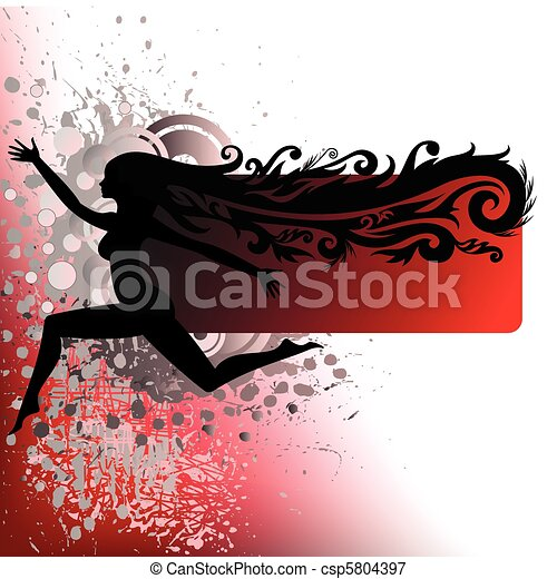 silhouette of a girl running on the spray - csp5804397