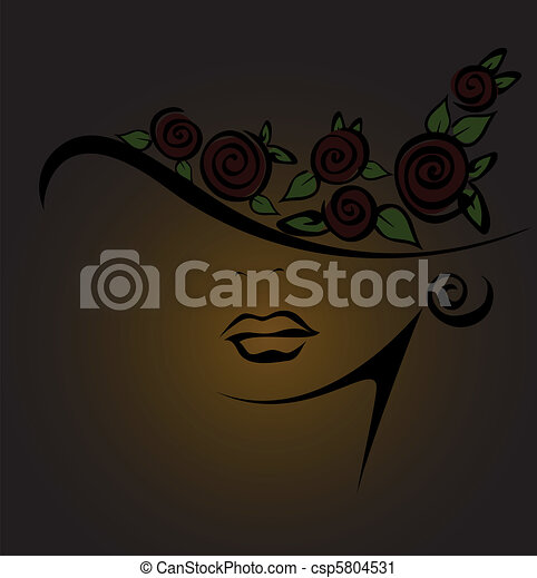 Feminine silhouette with black roses - csp5804531