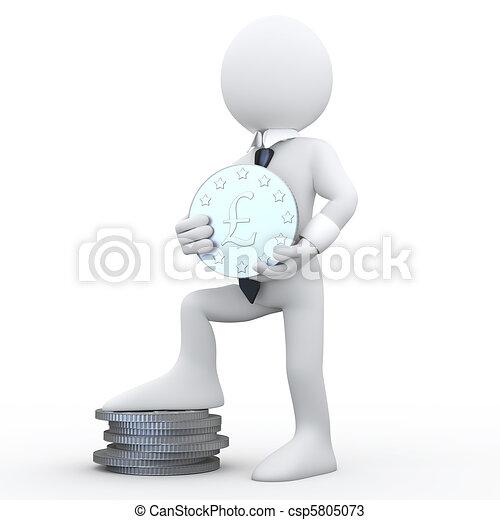 3D man holding a coin - csp5805073