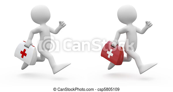 Man running with first aid kit - csp5805109
