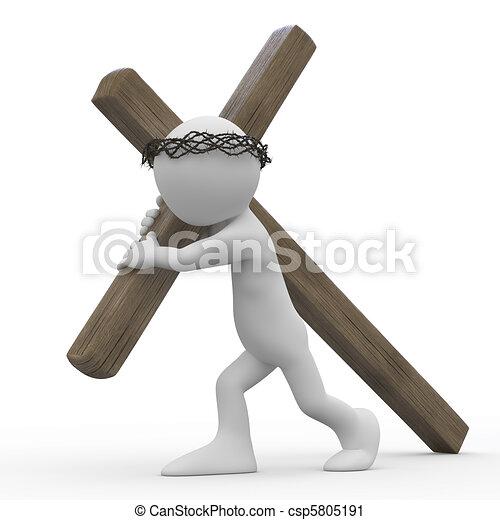 Man dragging a wooden cross - csp5805191