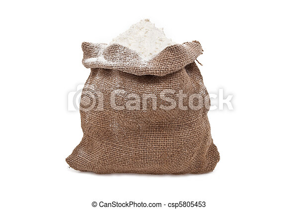 Burlap sack with flour - csp5805453